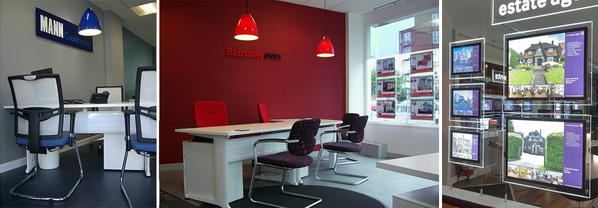 image of 3 of our fit out installations for Abbotts, Bairstow Eves and Mann - countrywide